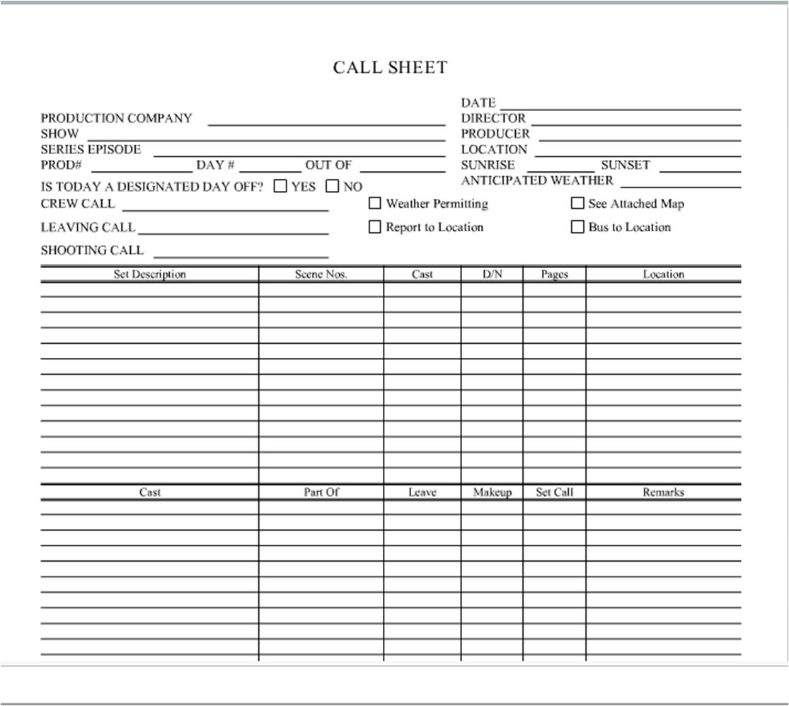 Production Tip The Importance Of Call Sheets – Call Sheets Template